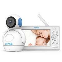 """HOMIEE Baby Monitor Video da 5"""" HD Schermo a Colori,Supporta, Ampio Visione a 360°,2.4Ghz a 300m, Audio Bidirezionale, Visione Notturna,Ninna Nanna,Temperatura Allarme,Blu"""