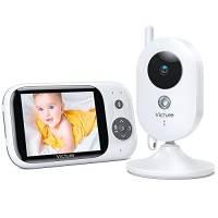 """Victure Baby Monitor, Videocamera Babyphone con VOX Notturna Visione di Temperatura 8 Ninne Nanne Audio a Due Vie, Attivazione Vocale, Telecamere 930mAh Batteria con Schermo da 3.2"""" LCD"""