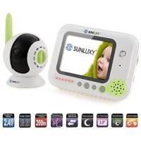 """SUNLUXY® 3,5"""" LCD Baby Monitor Videocamera Wireless Visione Noturna Automatica 6 Ninnananne Distanza fino a 200m per Monitoraggio Sicurezza Bimbi Bambini"""