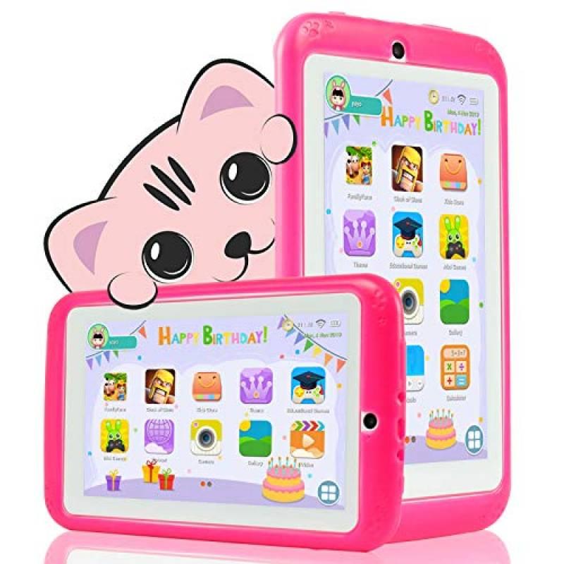 YESTEL Tablet per Bambini 7 Pollici Android 8.1 Kids Tablet e Quad Core 2 GB RAM e 32 GB Rom con Wi-Fi e Bluetooth 1024 * 600 IPS Doppia Fotocamera Educazione Allo Spettacolo Tablet per Bambini-Rosa