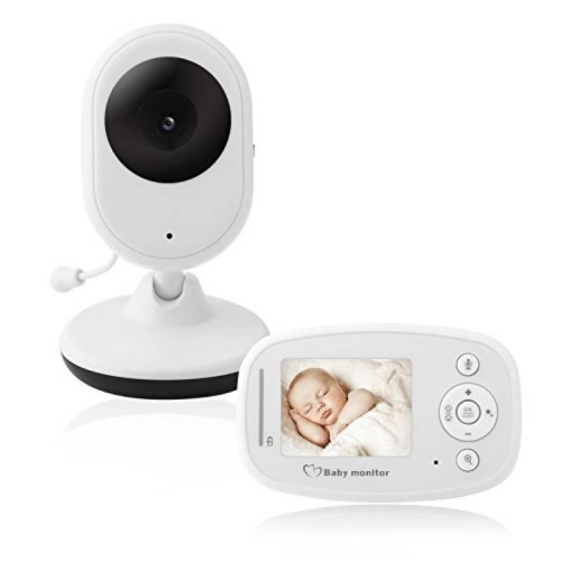 """Baby monitor video digitale con schermo LCD a colori da 2.4""""Gamma di Trasmissione a Lungo Raggio 2.4 GHz Visione Notturna, Monitoraggio Temperatura Canzoni di Culla 2 vie Citofono Sistema (Bianco)"""