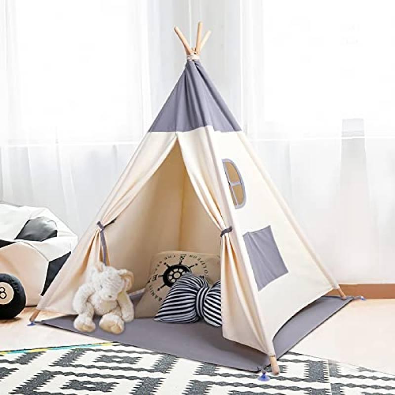 besrey Tenda per Bambini da Gioco in Tela Indiana Teepee in 100% Cotone + Grigio Opaco