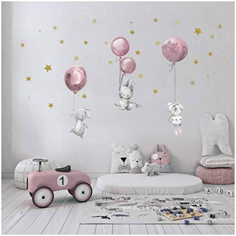 Yabaduu, adesivi da parete ad acquerello, con animali, autoadesivi, per cameretta dei bambini e delle bambine
