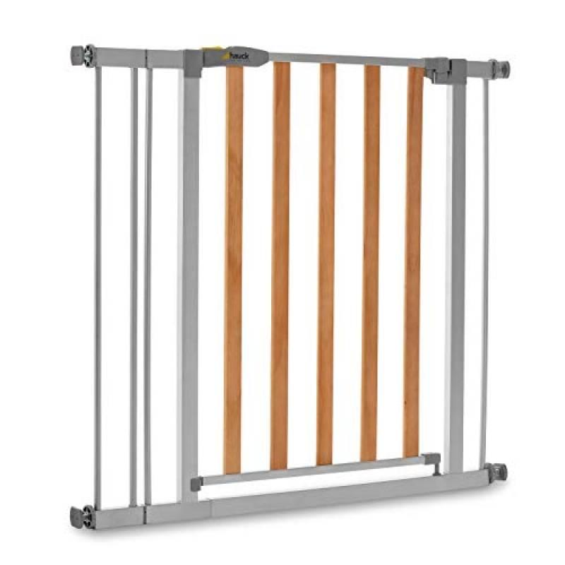 Hauck Cancelletto di Sicurezza per Bambini Wood Lock 2 incl. Estensione da 9 cm / per Aperture da 84 a 89 cm / a Pressione / Porte e Scale Interne / Estensibile / Metallo e Legno