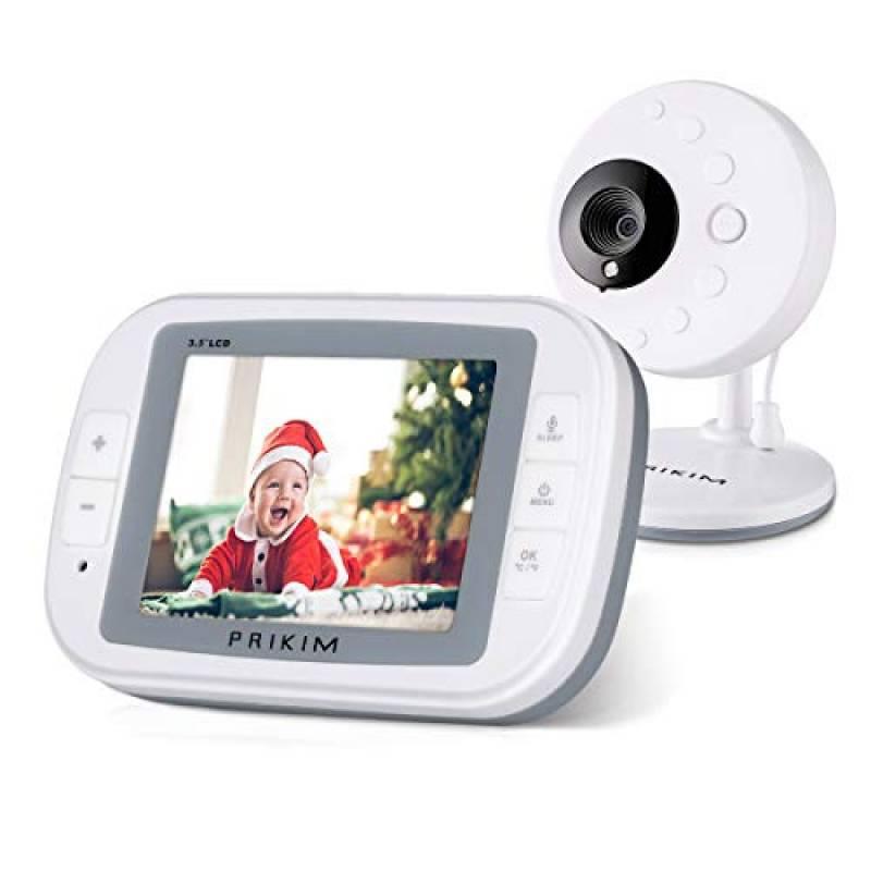 PRIKIM Baby Monitor Camera 720P a Colori, 3.5'' Schermo LCD , Baby Phone WIFI, Trasmettitore Wireless Videocamera Bambini Audio Bidirezionale Visione Notturna Monitoraggio Temperatura Modalità