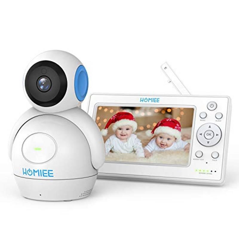 """HOMIEE Baby Monitor Video da 5"""" HD Schermo a Colori,Supporta Fino a 4 Telecamere, 360 Visione, Connessione a 300m, Audio Bidirezionale, Visione Notturna ecc"""