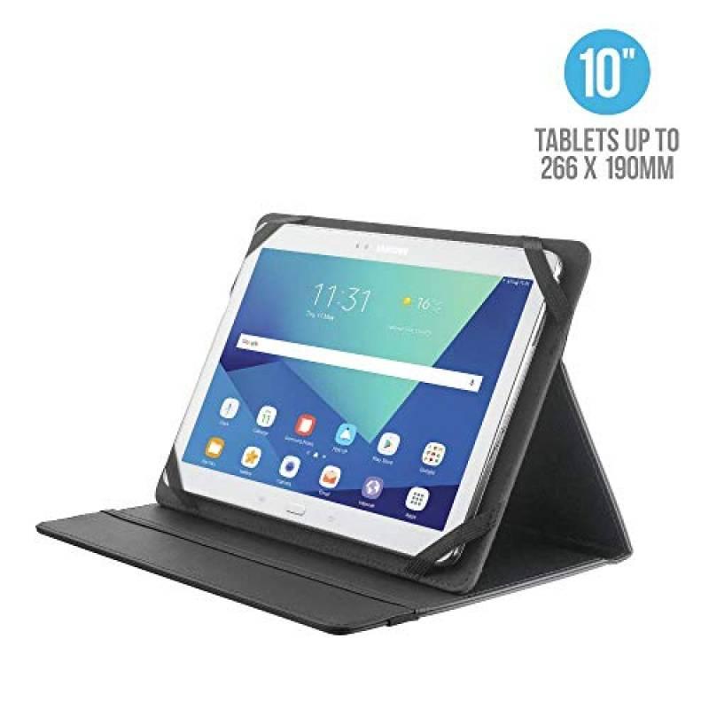 """Trust Primo Custodia Folio con Supporto per Tablet da 10"""" (fino a 266 x 190 mm), Nero"""