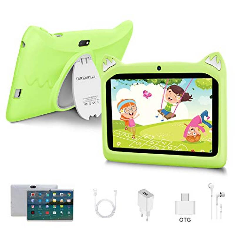 Tablet per Bambini 7 Pollici Android 10 Pie Tablets 3GB RAM 32GB/128GB ROM - Certificato Google GMS - WIFI | Bluetooth | GPS | iWawa APP| Doppia Fotocamera Tablet (verde)