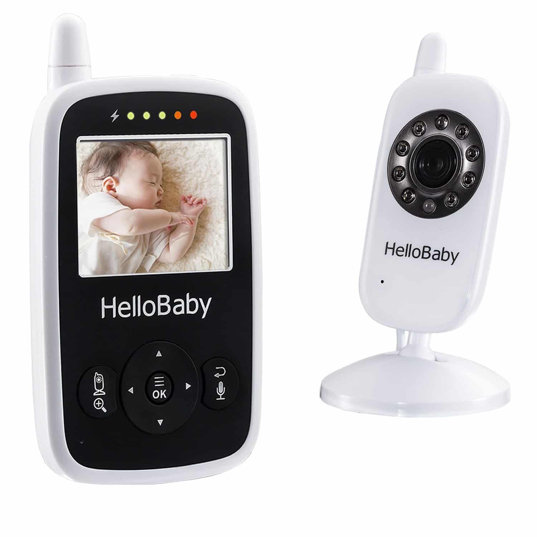 HelloBaby HB24 Wireless Digital Video Baby Monitor 2.4 TFT LCD Monitor del Bambino di Sorveglianza di Visione Notturna+Sensore di Temperatura(Bianco)