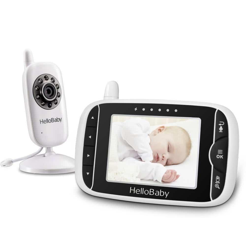 HelloBaby HB32 Wireless Video 3.2 TFT LCD Baby Monitor , Visione Notturna Monitoraggio della Temperatura e 2 vie Citofono Sistema (Bianco)